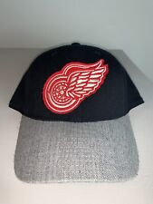 Men's CCM Fitted Offical Detroit Red Wings NHL Hockey Gray & Black Hat S/M NWOT