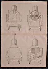 Locomotiva 1855 di stampa Vulcan Fairbairn in sezione Motore Treno FOCOLARE elevazione