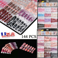 144pcs Artificial Nails False Half Nail Art Tips Acrylic Gel Natural 3D Vintage