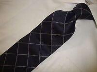 NWOT HUNT CLUB made in Italy men's 100% Silk Black checkered necktie TIE 59X4