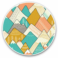 2 x Vinyl Stickers 10cm - Colourful Mountain Ranges Cool Gift #3897