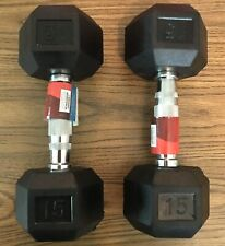 Pair of 15 LB WEIDER Rubber-Coated Black Hex Dumbbells NEW 15 pounds each