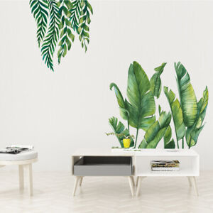Tropical Leaf Stickers Green Plants Leaves Wall Decals Home Art Room Decor