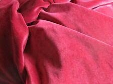 """Very Pretty Vintage Ruby Red  French Soft Cotton Velvet Fabric - 45"""" x 64"""""""