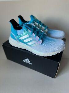 NEW Adidas Ultra Boost 20 Mens Shoes Cloud White/Cyan Blue FV8324 Ocean