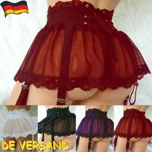 Damen Unterwäsche Spitze Minirock Dessous Röcke mit Gürtel Reizwäsche Negligee
