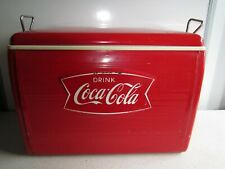 More details for coca-cola red vintage metal cooler ice chest coolbox 1960s