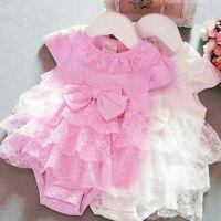 US Lace Newborn Baby Girls Tutu Romper Skirt Jumpsuit Bodysuit Clothes Outfits