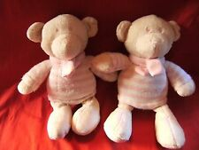 2 X Next Teddy Bear Soft Toy Comforter Pink Striped Jumper & Scarf pre loved 10""