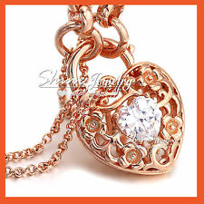 18K ROSE GOLD GF LAB DIAMOND FILIGREE PADLOCK BELCHER RING CHAIN BANGLE BRACELET