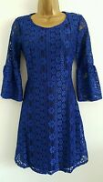 NEW ASOS Size 4-18 Fluted Sleeve Blue Lace Skater Dress Evening Party