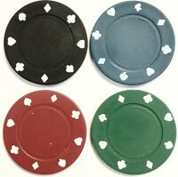 100 x FULL WIDTH SIZED POKER ROULETTE CASINO CHIPS - SUITED DESIGNS IN 4 COLOURS