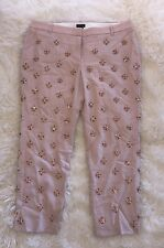 JCREW COLLECTION CAFÉ CAPRI IN EMBELLISHED WOOL CREPE 12 BISCQUIT $895 NEW