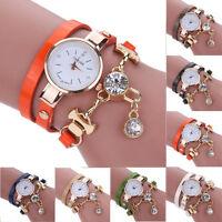 New Women's Fashion Ladies Faux Leather Rhinestone Analog Quartz Wrist Watches