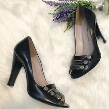 Marc By Marc Jacobs Black Peep Toe Leather Heels Pumps Size 7.5 MBMJ Classic