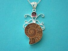 925 Sterling Silver Pendant With Natural Ammonite Fossil And Amethyst  (nk0706)