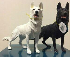 Black Alsatian Dog Ornament Figurine & White German Shepherd Dog Statue BNIB