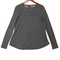 Lucky Brand Women's Gray Lace Long Sleeve Thermal Top - Size Small