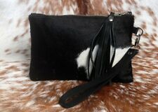 """Real Cowhide Leather Wristlet Clutch Wallet Double Side hairon 8.5""""x5.5"""" SA-2400"""