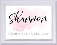 Personalised Baby Child Name Meaning Print Unframed Watercolour A4 Gift Wall Art