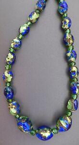 FABULOUS, VINTAGE VENETIAN? PEACOCK BLUE GREEN & YELLOW FOIL GLASS NECKLACE