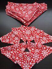 Slide on dog bandanas size XS christmas red with snowflake Polycotton handmade