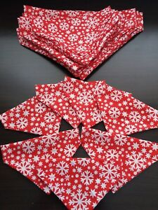 Slide on dog bandanas size M. christmas red with snowflake Polycotton handmade
