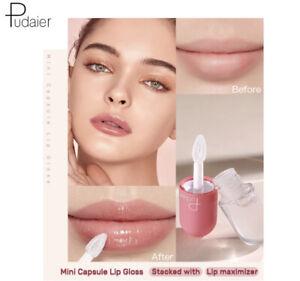 Pudaier Mini Capsule Lip Gloss Moisturizing Transparent Shimmer Lipgloss Makeup