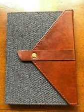 Diary Journal Grey Flannel Notebook/Journal with Faux Leather Snap Closure  B12