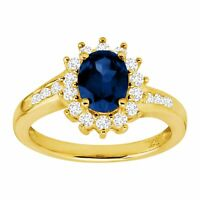 2 1/10 ct Created Ceylon & White Sapphire Sunburst Ring, 14K Gold-Plated Silver