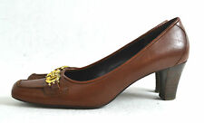 "ETIENNE AIGNER BROWN LEATHER SHOES SIZE 7.5  M 2.5"" HIGH HEEL"