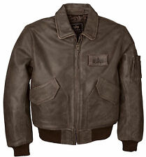 ALPHA-INDUSTRIES CWU45/P LEATHER FLIGHT JACKET BROWN  2 XL NEW W/ TAG AUTHENTIC