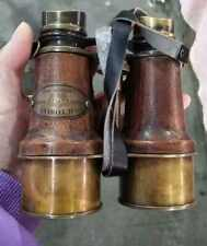 Antique leather  copper telescopic binoculars, old-fashioned  telescopes