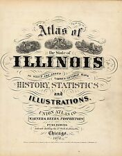 Illinois State 1876 Atlas maps old Genealogy Dvd S8