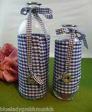 VASEN 2er SET ✿ Gingham Blue ✿ Schleife GLASVASEN Dekovasen VASE Blumenvase