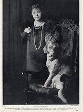 LABRADOR RETRIEVER AND OWNER DUCHESS OF YORK OLD ORIGINAL 1934 ROYALTY DOG PRINT