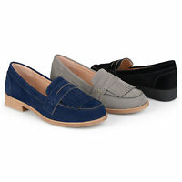 Brinley Co Womens Fringed Faux Suede Slip on Loafers New