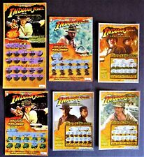 Indiana Jones Movies Instant Lottery Tickets, 6 diff, Harrison Ford