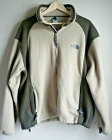 The North Face Men's Large Heavy Fleece Green and Taupe Zip up Jacket EUC