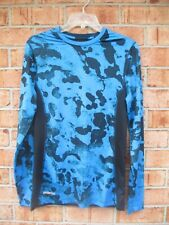 Mens Size Small Under Armour Fitted heatgear Ls Workout Top - Blue Black