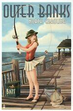 Outer Banks North Carolina Pinup Girl Fishing Pier Bait NC etc - Modern Postcard