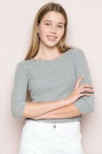 New! Brandy Melville heather gray ruffle trimmed CLARISSA crop top NWT sz S/M