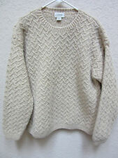 J. Crew Men's XLT Beige Hand Knitted 100% Wool Crewneck Pullover Sweater
