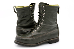 Vintage Browning Mens 8D Green Leather Kangaroo Moc Toe Lace Up Hunting Boots