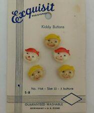 New listing Vintage Kiddie Button Us Zone Germany Goofie Elf Clown or Child Head Orig Card