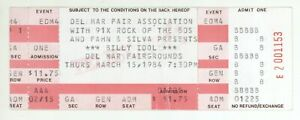 Cool BILLY IDOL 3/15/84 Del Mar CA Fairgrounds Ticket!