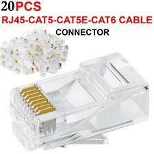 RJ45 CONNECTOR NETWORK CABLE PLUG LAN CAT6 CAT5E ETHERNET CRIMP ADAPTER GOLD PIN