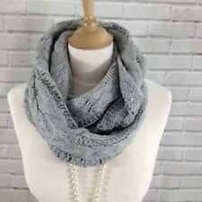 Womens Silver Grey Infinity Loop Snood Scarf Thick Cable Knitted Style