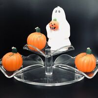 Vintage Halloween Wax Decor Candles Ghost Jack O Lantern Pumpkins Lot Of 4 HTF
