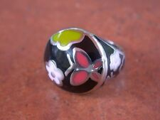 Stainless Steel Enameled Ring, Size 7